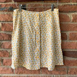 Vintage Express Button Up Sunflower Mini Skirt